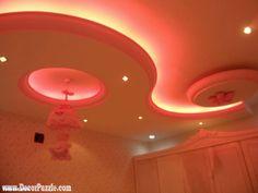 cool pop false ceiling design for nursery or kids room with led ceiling lights