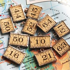 charms made from a vintage ruler
