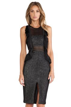self-portrait Fringed Formation Dress in Black