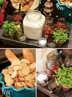 """BRUSCHETTA BAR- LOVE THE PRESENTATION """"Bruschetta is a perfect party food — it's easy to make in large batches and can be made ahead and chilled until party time. Serve along side your favorite artichoke dip and a variety of breads and crackers."""""""