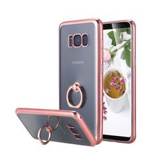 Galaxy Plus Case, Slim Thin Clear Luxury TPU Rose Gold Bumper Case Cover with Built-in Ring Grip Holder for Samsung Galaxy Plus - Rose Gold Samsung Galaxy S5, Galaxy S8, Samsung Cases, Apple Watch Accessories, Cell Phone Accessories, Mobiles, Bling Bling, Iphone 4s, Iphone Cases