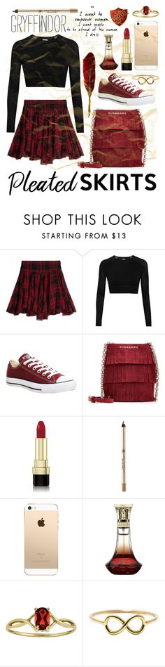 """Gryffindor Uniform."" by lanrueamy ❤ liked on Polyvore featuring Polo Ralph Lauren, Ivy Park, Converse, Burberry, Dolce&Gabbana and Anastasia Beverly Hills"