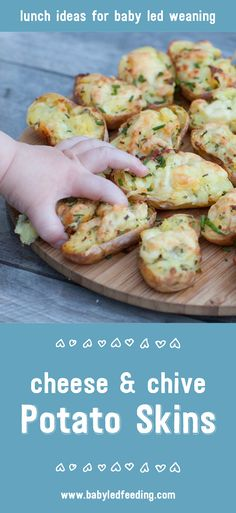 Cheese and Chive Stuffed Baby Potato Skins are a great starting food for blw. Baby potatoes are easy for babies to manage on their own too.