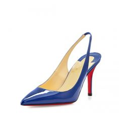 Christian Louboutin Apostrophy Red-Sole Slingback Pump, Neptune