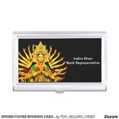 INDIAN FIGURE BUSINESS CARD HOLDER/SILVER LOOK BUSINESS CARD CASE