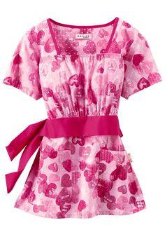 Koi Audrey Be Mine empire waist print scrub top. - Scrubs and Beyond #scrubs #uniforms #nurse