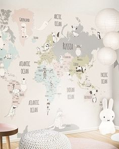 Super Baby Wallpaper Boy World Maps Ideas Map Nursery, Nursery Room, Kids Bedroom, Travel Theme Nursery, Room Kids, Boys Room Wallpaper, Baby Wallpaper, World Map Wallpaper, Baby Room Colors