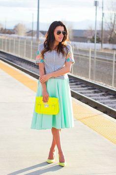 Beautiful Top With Midi Aqua Skirt, Yellow Purse Looks Awesome