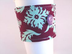 Coffee Sleeve Purple and Mint Green Damask by bamcraftymommas