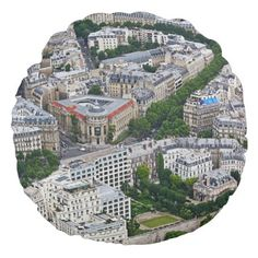 Paris France aerial view Round Pillow - black and white gifts unique special b&w style