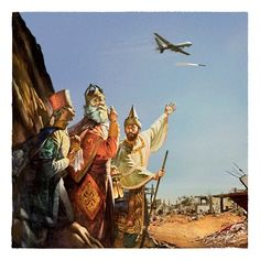 Christmas card designs that feature biblical scenes, but against the backdrop of violence in the middle east.