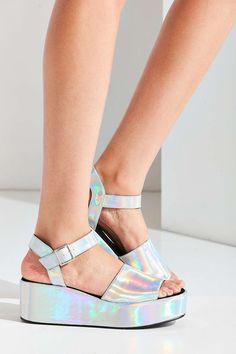 Holographic Quarter Strap Platform Sandal