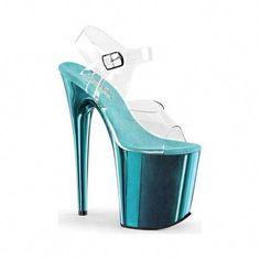 d405fe9cace Pleaser Women s Flamingo 808 Clear PVC Turquoise Chrome Size 6 M