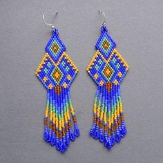 peyote earrings | Dark blue seed bead earrings Peyote Earrings ... | Seed Bead Jewler…
