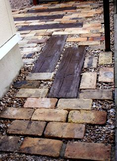 Wood and brick path