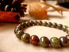 Dragons Blood Jasper, Chakra Bracelet, Positive Energy, Gemstone Bracelet, Meditation Bracelet, Spiritual Jewelry, Free Shipping US - pinned by pin4etsy.com