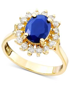 Royalty Inspired by Effy Sapphire (1-9/10 ct. t.w.) and Diamond (1/2 ct. t.w.) Oval Ring in 14k Gold