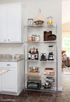 Apartment Kitchen Organization, Small Apartment Kitchen, Rental Kitchen, Small Kitchen Storage, Kitchen Pantry, Home Decor Kitchen, Space Kitchen, Kitchen Ideas, Metal Kitchen Shelves