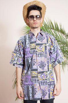 0a96193082 Abstract print shirt•Vintage hippie shirt•Hipster shirt•90s shirt•Short  sleeve shirt•Mens vintage clothing•Mens button up shirt•Collar shirt