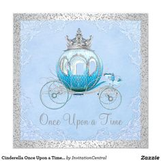 Cinderella Once Upon a Time Blue and Silver Princess Quinceanera Invitations.