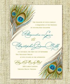 Peackock style Wedding Invitation and Save the Date - Sample Packe. $5.00, via Etsy.