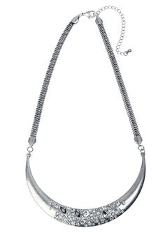 Collier collar pierres de cristal finition argentée