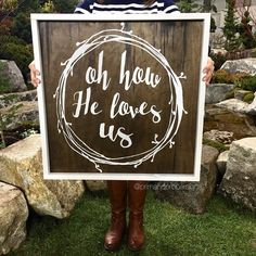 Oh how He loves us   rustic framed hand by PrimandProperToo