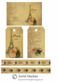 Astrid's Artistic Efforts: My Freebies - Paris Vintage Tags, Vintage Labels, Vintage Ephemera, Decoupage Vintage, Vintage Paper, Paris Cards, French Flowers, Card Sentiments, Vintage Art Prints