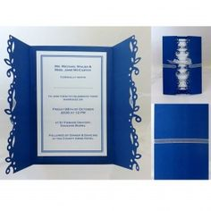 Design: Blue Haven. Beautifully punched royal blue card with open gates. Stationery Shop, Organza Ribbon, Invitation Set, Gates, Royal Blue, Artisan, Texture, Luxury, Frame