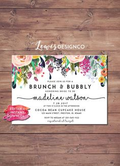Brunch and Bubbly Floral Bridal Shower Invitation | Instant Download | PDF Flower Card Invite | Printable File |