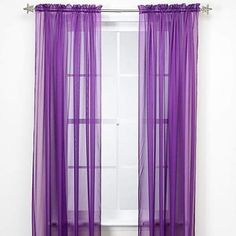 "GorgeousHomeLinenDifferent Solid Colors 2 PC Rod Pocket Sheer Window Curtains Treatment Drape Voile Elegant Panels 55"" Width X 63"" 84"" 95"" Length (84"" Length, Purple) 