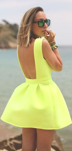 Sheinside Neon Lime Soft Pleat Open Back Fit And Flare Mini Dress by My Showroom Blog