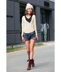 Modern Style V-Neck Pleated Chiffon Collar Long Sleeve Lace T-Shirt For Women (APRICOT,M) China Wholesale - Sammydress.com