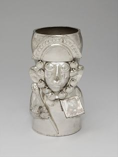 Warrior Vessel  Date:     14th–15th century Geography:     Peru Culture:     Chimú Medium:     Silver