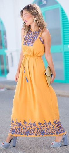 #summer #trending #outfits | Embroidered Maxi Dress