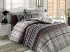 Lenjerie de pat Ranforce Luke V1 pentru doua persoane din patru piese Single Quilt, Quilt Cover Sets, White Beige, Home Collections, Comforters, Duvet, King, Blanket, Brown