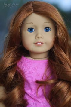 33 with 61 wig Custom American Girl Dolls, American Dolls, Custom Dolls, Red Wigs, Doll Hair, Ag Dolls, Doll Stuff, Girl Doll Clothes, 18 Inch Doll