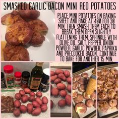 Place mini potatoes on baking sheet and bake at 400 for 30 min. Then smash them each to break them open slightly flattening them. Sprinkle with olive oil, salt, pepper, onion powder, garlic powder, paprika and precooked bacon. .Continue to bake for another 15 min. Mini Potatoes, Baking Sheet, Garlic Powder, Allrecipes, Love Food, Olive Oil, Onion, Salt, Stuffed Peppers