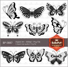 Butterfly Clip Art For Wedding Invitation Card por BaBaPuff en Etsy