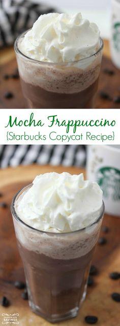 Copycat Starbucks Mocha Frappuccino Recipe! Easy Frozen Drink Recipe for a Homemade Coffee Drink!