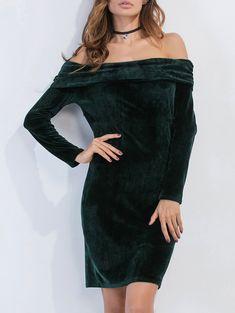 Velvet Long Sleeve Off The Shoulder Bodycon Dress , Sheath Dress, Bodycon Dress, Off The Shoulder, Cold Shoulder Dress, Lingerie Dress, Black Knees, Halloween Dress, Velvet, Long Sleeve