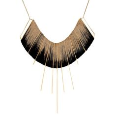 L Ikat Necklace by Michal Taharlev - Black with gold-plated brass or gray with silver-plated brass