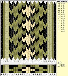 Brikkevev-mønster til bunad. Renning: Beltegarn (Har lest ett sted at det er det samme som Rauma sitt Røros brodergarn - Spælsaugarn. 2-tråds garn av ren ny ull. Nm. 10/2) Innslag bomull 24/2, fra f.eks. Solberg spinneri - 8-10 tråder i belte og 3 tråder i vippe. Snu-frekvens: Ca.