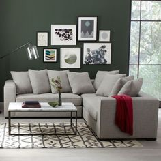 Sectional sofa with pillows from West Elm