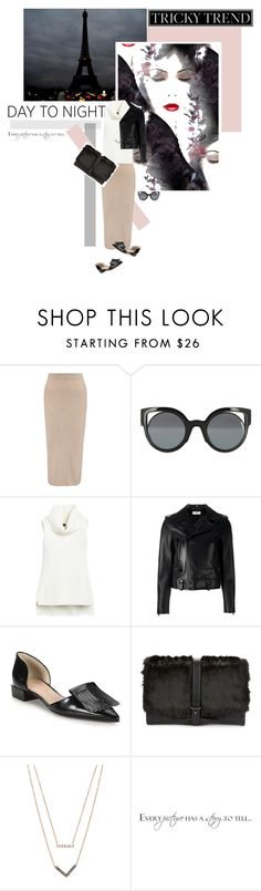 """Day to Night"" by s-thinks ❤ liked on Polyvore featuring Iris & Ink, Fendi, White House Black Market, Yves Saint Laurent, Tory Burch, Sam Edelman, Michael Kors, DayToNight, midiskirt and HolidayParty"