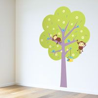 Playful Monkeys in a Tree - Printed Wall Decals