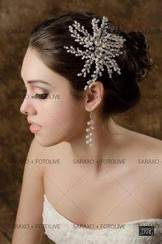 Tocado de tiras de perlas con cristal