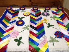 Beautiful way to keep and display ribbons (better than being in the bottom of a box in the attic!) Seen on QuiltingBoard.com forum.