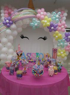 Unicorn Themed Birthday Party, 1st Birthday Parties, Birthday Party Decorations, Balloon Decorations, Deco Ballon, Unicorn Balloon, Party Fiesta, Unicorn Baby Shower, Party Ideas