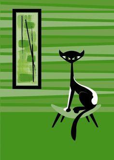 Black Cat Giclee Print of Lovey Cat Modern Mid Century Modern Wall Art Cat Lover Illustration Original Cat Art Cool Cat Atomic Kitty Mod Mid Century Modern Art, Mid Century Art, Black Cat Art, Black Cats, Black Kitty, Cat Art Print, Cat Prints, Cat Sketch, Retro Art